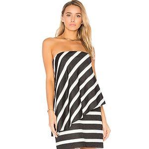 NWT Halston Heritage Strapless Tiered Stripe Dress